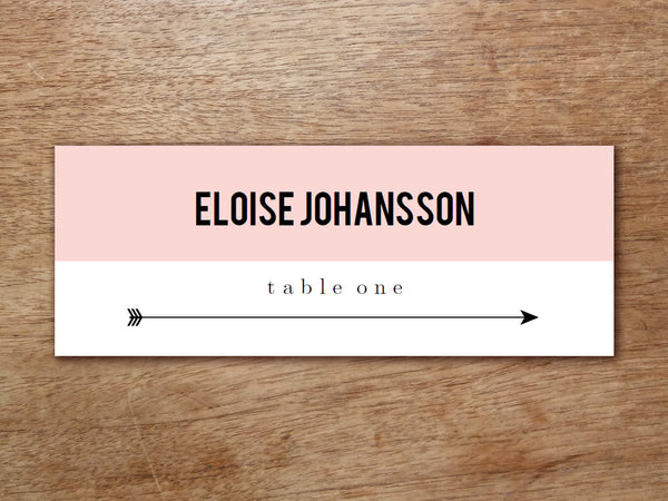 Printable Place Card - Pink Block