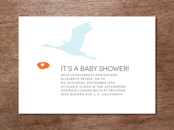Printable Baby Shower Invitation - Stork