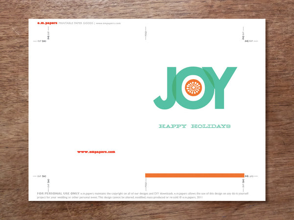Printable Christmas Card Template - Big Joy