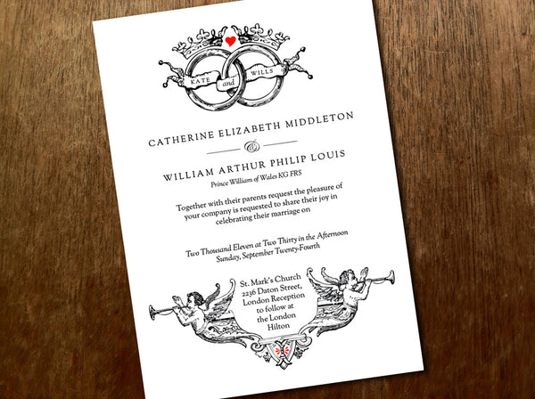 Printable Wedding Invitation - Vintage Wedding Rings and Angels
