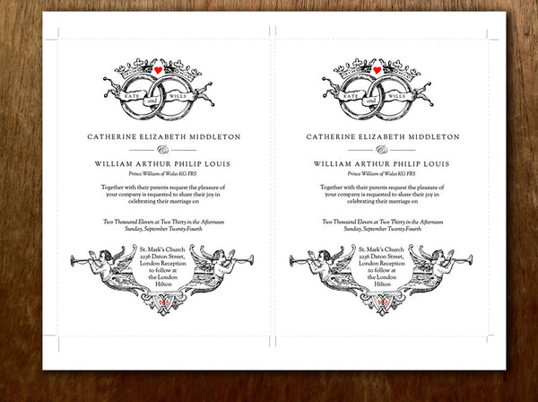 Printable Wedding Invitation Template - Vintage Wedding Rings and Crowns