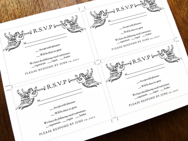 Printable Wedding Response Card Template - Vintage Angels