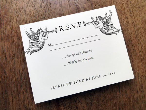 Printable Wedding Response Card - Vintage Angels