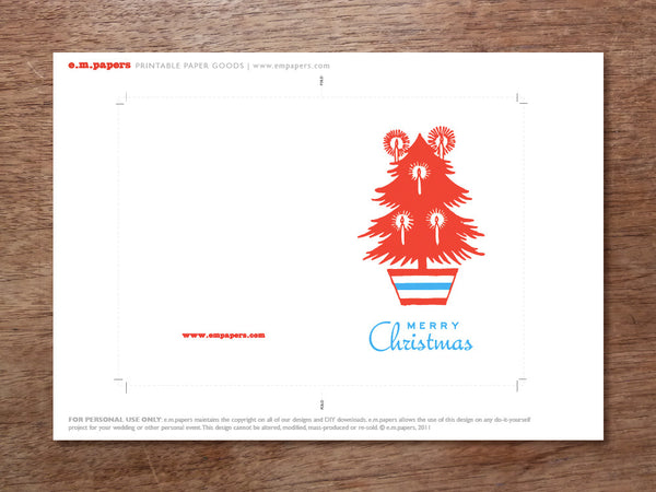 Printable Christmas Card - Red Tree