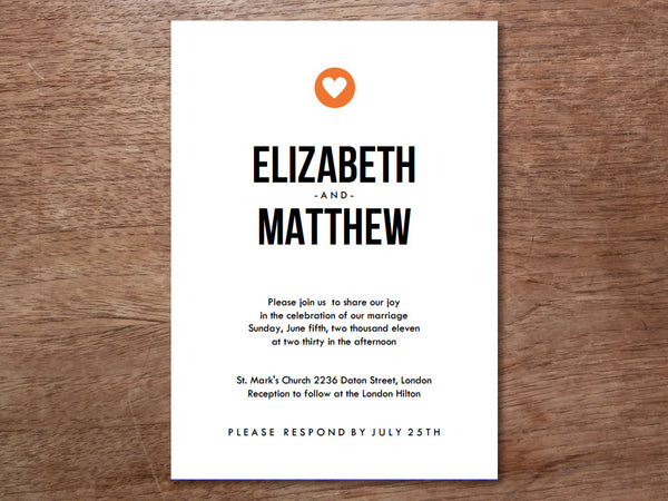 Printable Wedding Invitation - Simple Heart