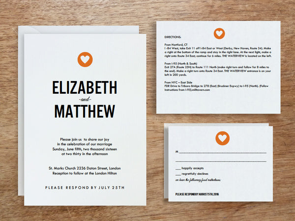 Printable Wedding Invitation Set - Simple Heart
