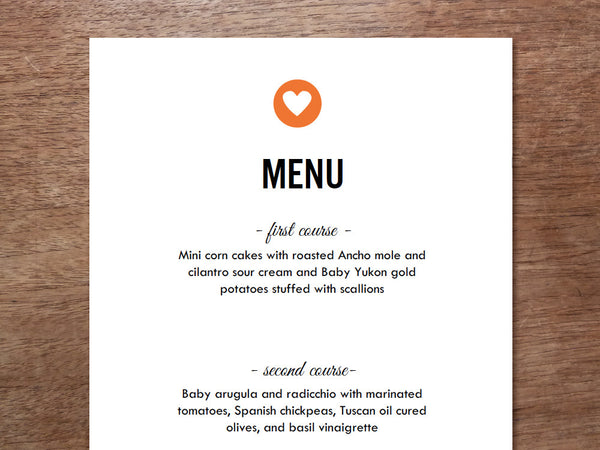 Printable Menu - Simple Heart