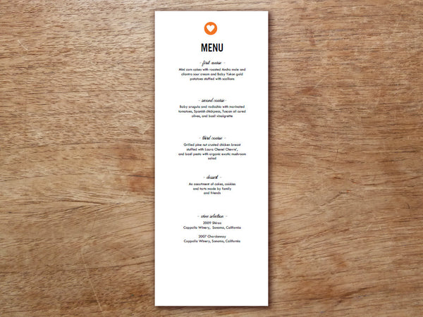 Printable Wedding Menu - Simple Heart