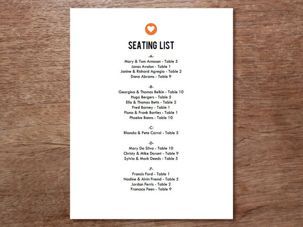 Printable Wedding Seating List - Simple Heart