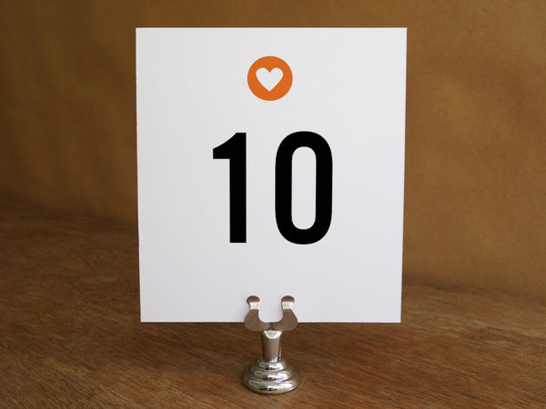 Printable Table Number - Simple Heart