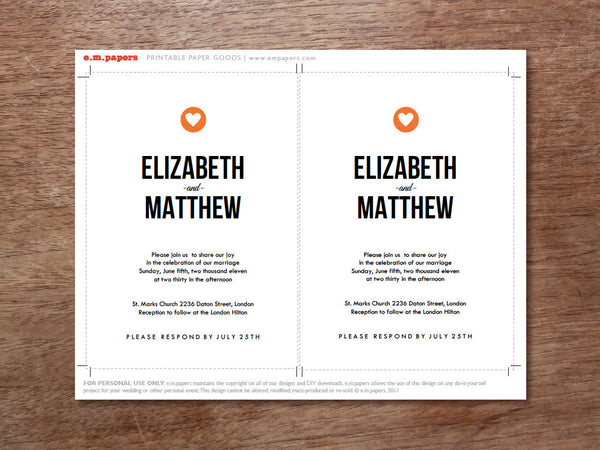Printable Wedding Invitation Template - Simple Heart