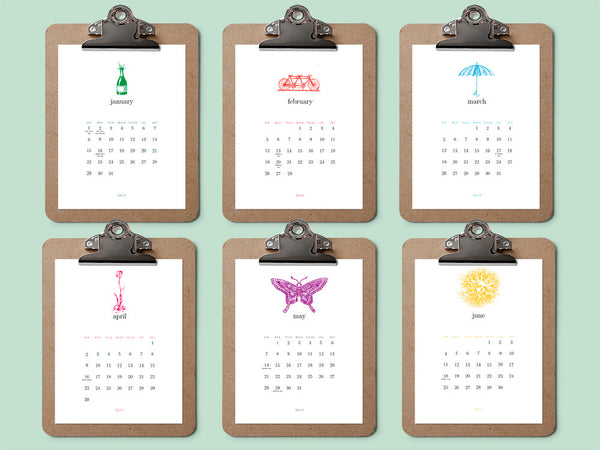 Printable Calendar Template - Simple Woodcuts