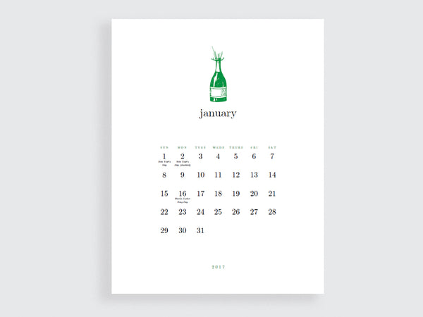 Printable Calendar Template - Simple Woodcuts - e.m.papers