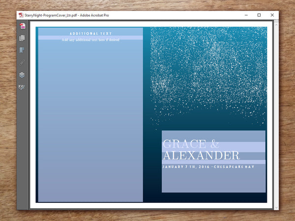 Printable Wedding Program - Starry Night
