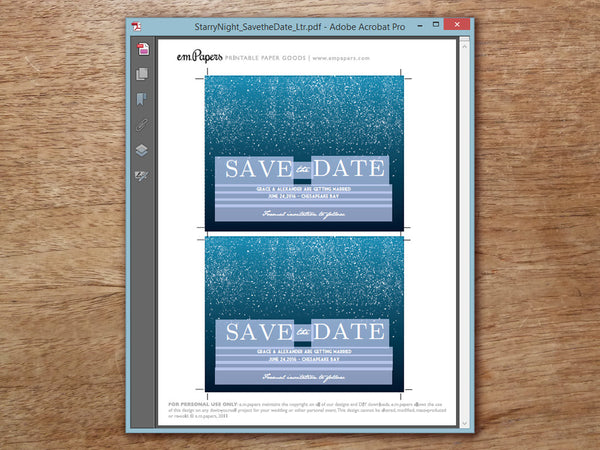 Printable Save the Date Template - Starry Night