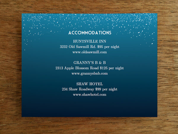 Printable Wedding Information Card - Starry Night