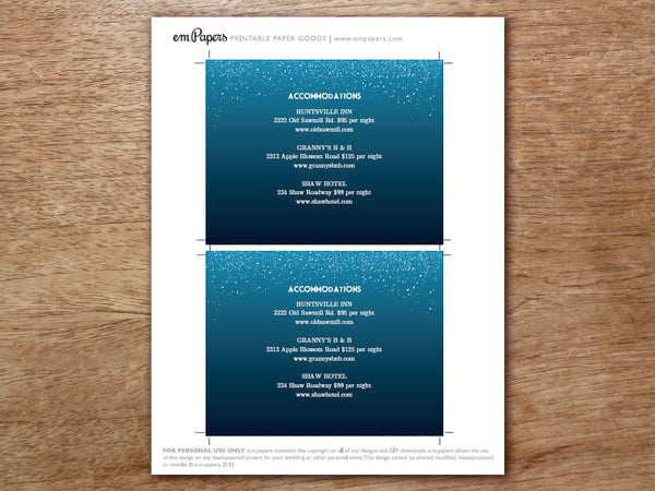 Printable Wedding Invitation Set - Starry Night