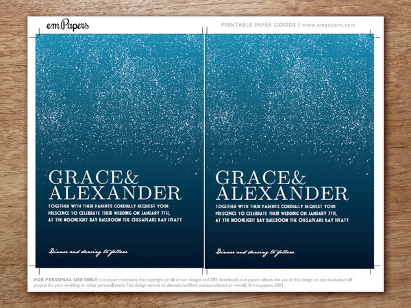 Printable Wedding Invitation - Starry Night