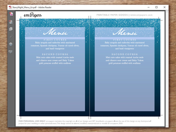 Printable Wedding Menu - Starry Night