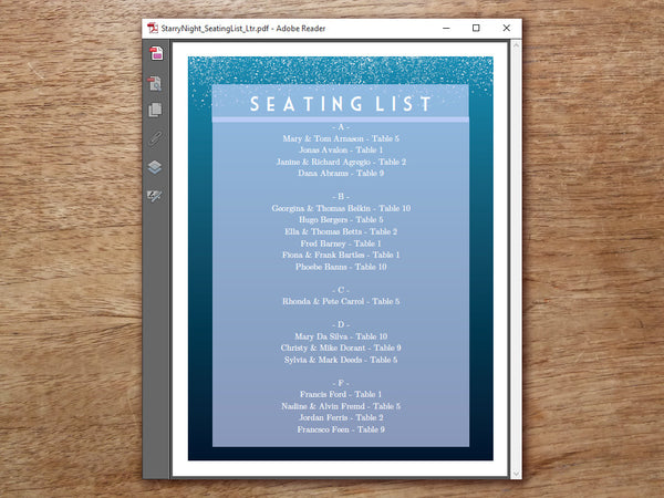 Printable Wedding Seating Sign - Starry Night