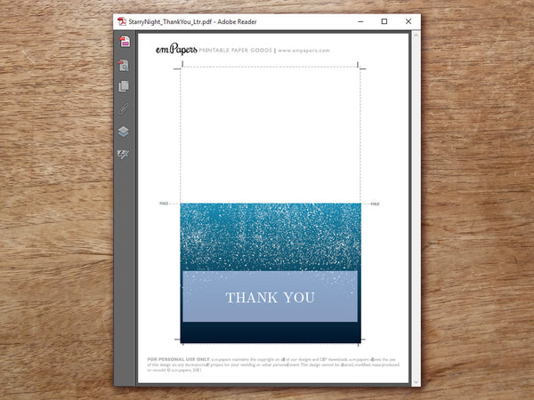 Printable Thank You Card - Starry Night