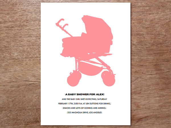 Printable Baby Shower Invitation - Stroller