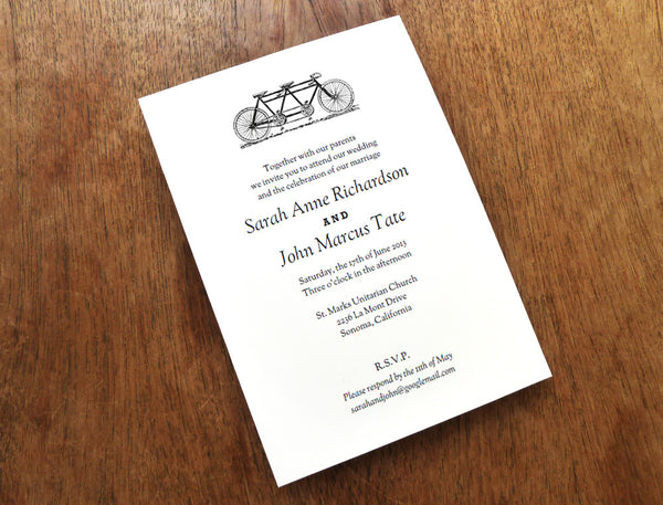 Printable Wedding Invitation - Tandem