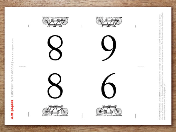 Printable Table Number - Tandem