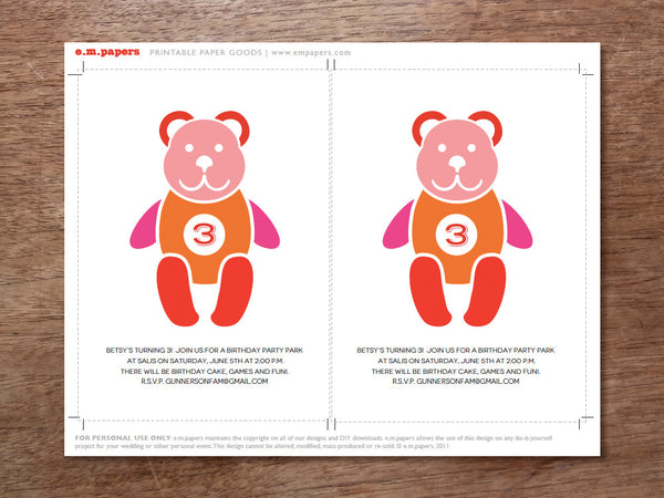 Teddy Bear Printable Kids Birthday Party Invitation