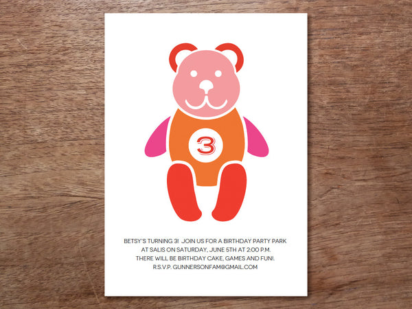 Printable Kids Birthday Party Invitation - Teddy Bear