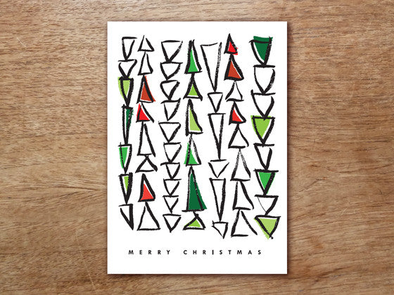 Printable Christmas Card - Mod Triangle Trees