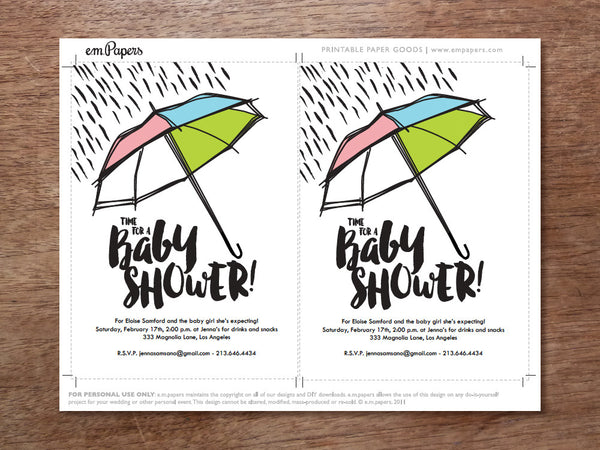 Printable Baby Shower Invitation - Umbrella