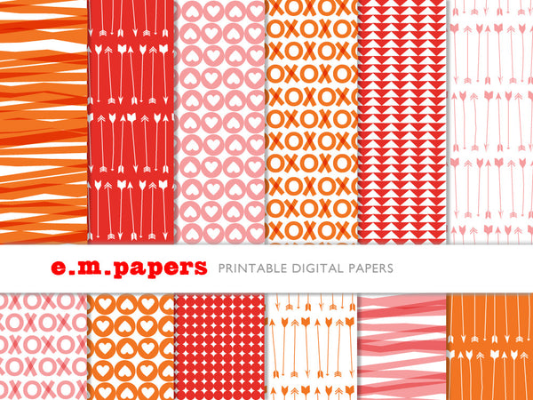Printable Wrapping Paper - Valentine Patterns