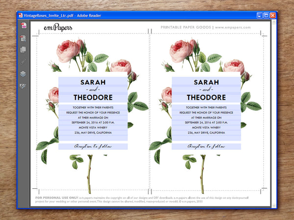 Printable Wedding Invitation - Vintage Roses