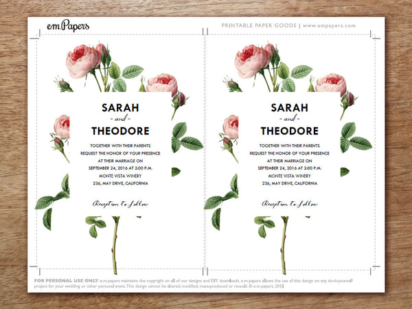 Printable Wedding Invitation Set - Vintage Roses