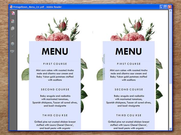 Printable Wedding Menu - Vintage Roses