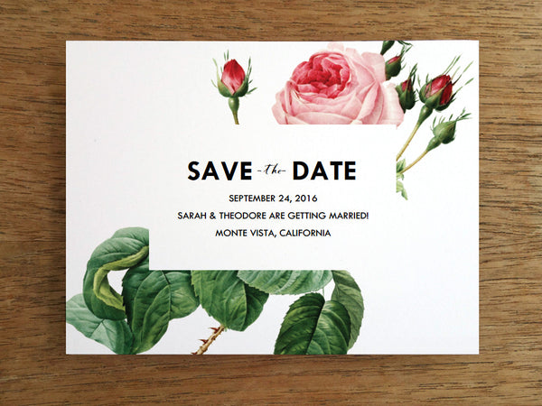 Printable Save the Date - Vintage Pink Rose