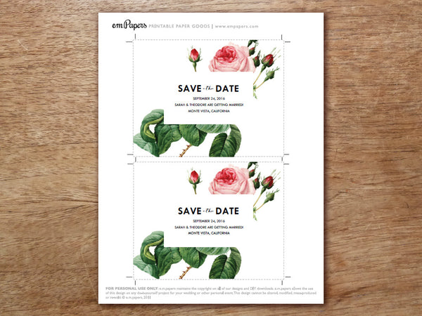 Printable Save the Date - Vintage Roses