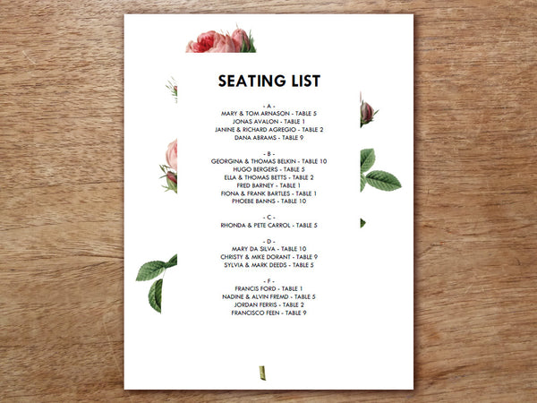 Printable Wedding Seating Sign - Vintage Roses