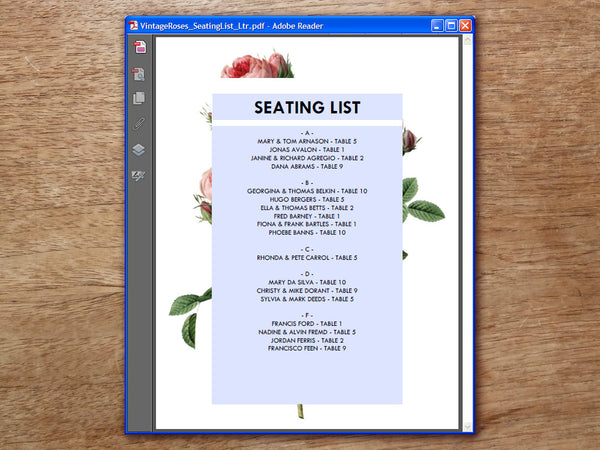 Printable Wedding Seating List - Vintage Roses