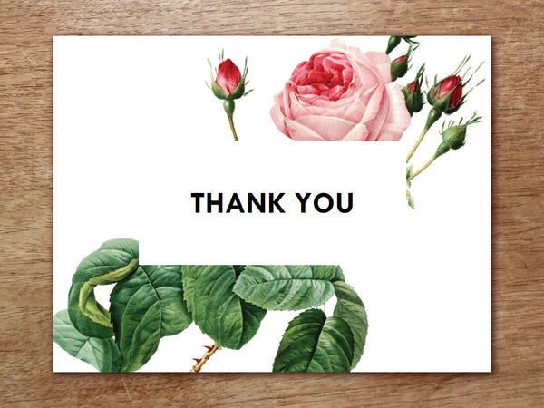 Printable Thank You Card - Vintage Roses