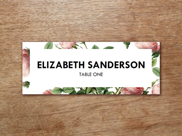 Printable Place Card - Vintage Roses
