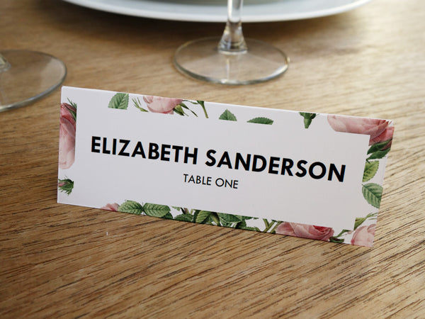 Printable Wedding Place Card - Vintage Roses