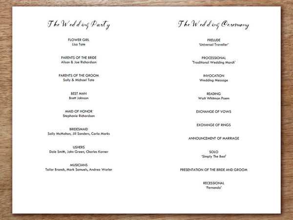 Printable Wedding Program Template PDF