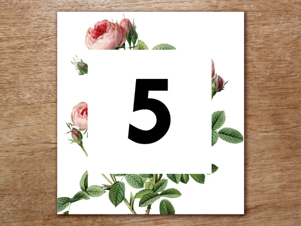 Printable Table Number - Vintage Roses