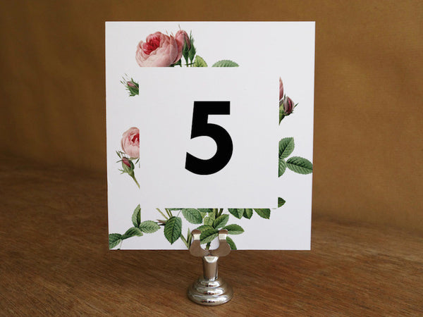 Printable Wedding Table Number - Vintage Roses