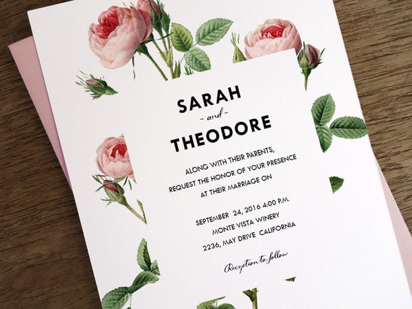 Vintage Pink Roses Printable Wedding Invitation