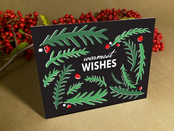 Printable Christmas Card - Black and green branches