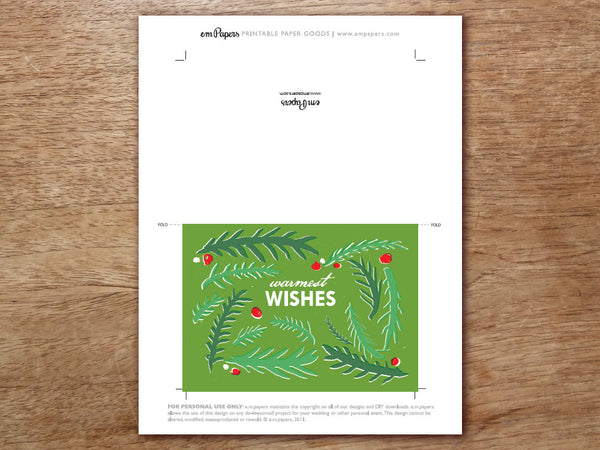 Printable Christmas Card - Green branches