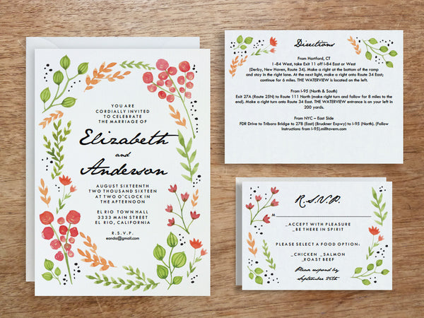 Printable Wedding Invitation Set - Watercolor Flowers